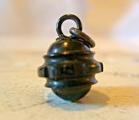 Antique Pocket Watch Chain Fob 1890s Victorian Black Vulcanite Ball Fob (3 of 7)