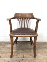 Pair of Early 20th Century Oak & Leather Desk Chairs (6 of 10)