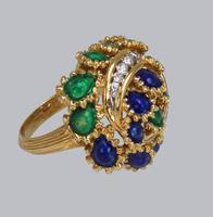 Vintage Diamond and Blue & Green Enamel Ring 18ct Gold Bombé Ring (14 of 21)