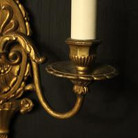 French Gilded Brass Twin Arm Antique Wall Lights (7 of 10)