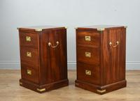 Superb Antique Pair of Mahogany Campaign Bedside Chests of Drawers (2 of 5)