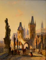 """Oil painting by William Dommersen """"The Charles Bridge, Prague"""" (2 of 4)"""