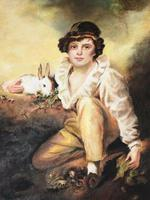 19th Century Oil Painting Young Boy & Rabbit After Henry Raeburn (2 of 12)