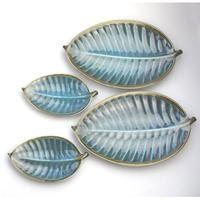 A Retro Set 4X Novelty Studio Pottery Leaf Plates Surrey Ceramics 1960's