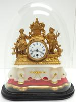 Stunning Complete French Mantel Clock Under Dome with Base Figural Mantle Clock. (6 of 10)