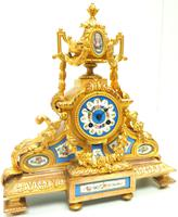 Stunning Quality French Mantel Clock Urn Top Blue Sevres Porcelain Mantle Clock. (8 of 12)