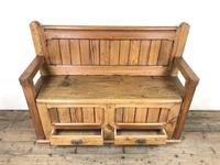 Pitch Pine and Oak Settle Bench with Drawers (M-1475) (9 of 11)