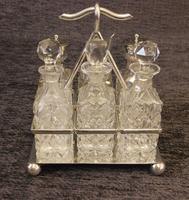 Antique Silver Plated Six Bottle Glass Cruet (3 of 13)
