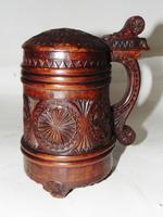 19th Century Norwegian Carved Fruitwood Tankard
