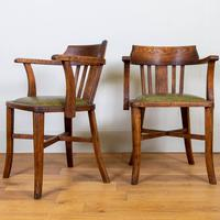 Vintage 1930s Oak Office Chair With Fresh Leather Seat x 2 (10 of 11)
