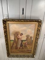 Antique French oil painting landscape harvest scene signed E Cornaud dated 1888 (2 of 10)