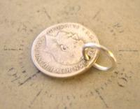 Antique Pocket Watch Chain Fob 1920 Silver Lucky Three Pence Old 3d Coin Fob (6 of 6)