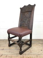 Early 18th Century Carved Oak Chair with Leather Seat (M-192) (7 of 10)