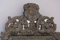 19th Century French Renaissance Style Octagonal Repousse Brass Cushion Framed Mirror (4 of 7)