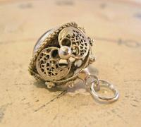 Vintage Pocket Watch Chain Silver Fob 1950s Victorian Revival Amethyst Stone Fob (9 of 10)