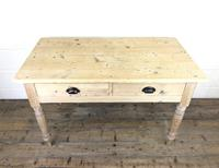 Antique Pine Two Drawer Farmhouse Kitchen Table (M-1340) (8 of 9)