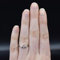 Antique Old Cut Diamond Three Stone Trilogy 18ct Gold and Platinum Ring (8 of 10)