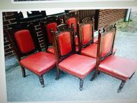 Six Beautiful 'one needs slight repair' Red Leather High Back Chairs - Boardroom / Council Office (2 of 6)