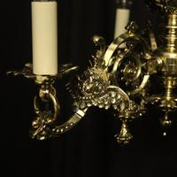 English Pair Of Triple Light Antique Gasoliers (7 of 10)
