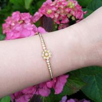 Vintage 14ct Gold French Pearl Floral Bangle (4 of 9)