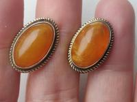 Vintage USSR Period Latvian 875 Gold Gilt Silver Cufflinks Amber Stone 1950s (2 of 6)