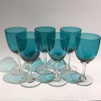 6 Victorian Green Drinking Glasses