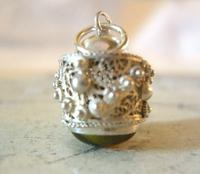 Vintage Pocket Watch Chain Silver Fob 1950s Victorian Revival Stone Set Ball Fob (8 of 9)