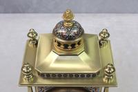 French Napoleon III Brass & Champleve Mantel Clock by Japy Freres (6 of 10)
