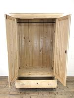 Antique Pine Two Door Wardrobe with Drawer (4 of 10)
