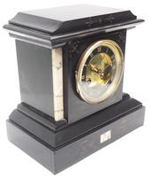 Fine French Slate & Marble Mantel Clock 8 Day Striking Mantle Clock (6 of 10)