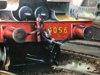 Oil Painting Railway Train Engine Princess Margaret 4056 With Figures Signed Ken Allsebrook (11 of 13)