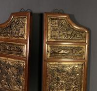 Good looking decorative pair of oriental gilded wall hangings (8 of 8)