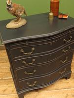 Antique Black Painted Serpentine Chest of Drawers, Bachelors Chest, Gothic (12 of 12)
