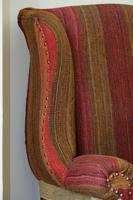 Antique Oak Chair with Multicoloured Afghan Kelim (5 of 9)