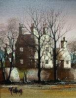Ronald Folland (1932-1999) Original Signed Winter Village Landscape Oil Painting (8 of 12)