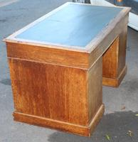 1920's Solid Light Oak Pedestal Desk with Green Leather Top. (4 of 5)