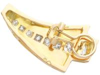 4.06ct Diamond and 18ct Yellow Gold Earrings - Art Deco - Vintage French c.1940 (4 of 9)
