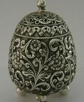Stunning Indian Eastern Solid Silver Pepper Spice Pot Egg Shaped c.1880 (3 of 9)