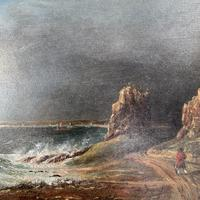 Antique oil painting seascape coastal scene of St Owens Ouens Bay Jersey (5 of 10)