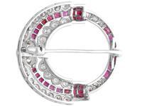 0.97ct Ruby & 2.23ct Diamond, 14ct White Gold Brooch - Art Deco c.1930 (5 of 9)