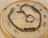 Pocket Watch Chain 1930s German Art Deco Silver Chrome & Goldstone Albert Nos (2 of 12)