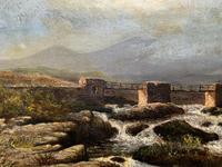 Original 19th Century Period Antique Scottish Highland Bridge Landscape Oil Painting (4 of 11)