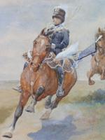 Pair of Victorian Watercolours The Hussars Artist George Clark (2 of 10)