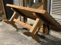 Large French Bleached Oak Trestle Farmhouse Dining Table (12 of 16)
