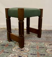 Stylish Arts and Crafts Oak and Leather Stool (6 of 6)