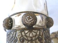 19th Century Bohemian / Moser ? Large Covered Goblet with Filigree Metalwork Overlay (7 of 11)