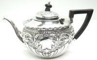 English Victorian Antique Solid Silver Tea Set, Embossed Decoration c.1890 (7 of 11)