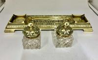 Victorian Brass Inkwell Desk Companion c.1875 (5 of 9)