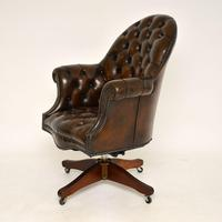 Antique Victorian Style Leather Swivel Desk Chair (3 of 12)