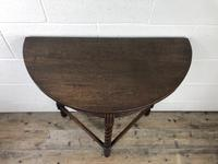 Antique Carved Oak Demi Lune Hall Table (3 of 10)